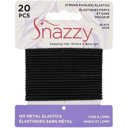 Hair Elastics by Snazzy, Black, Thin & Long, Painless Pony Tail Holders, Yoga Twist, 20 Count (1 Pack, 20 Ties Per Card)