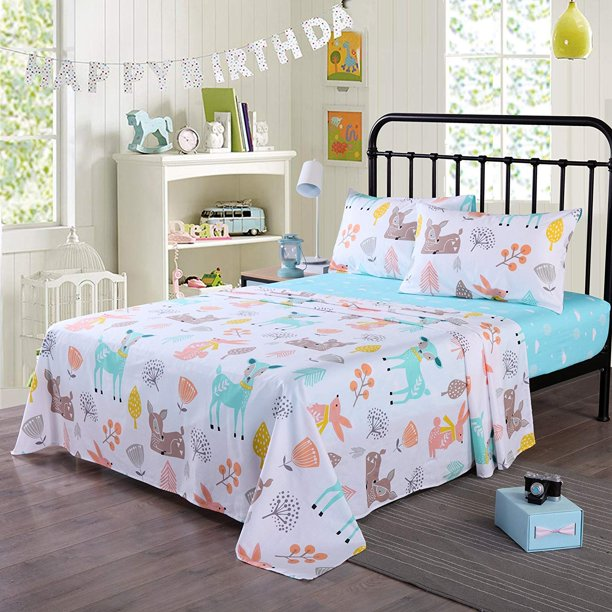 100 Cotton Sheets Kids Twin Sheets For Kids Girls Boys Teens Children Sheets Bed Sheets For Kids Soft Fitted Flat Printed Sheet Pillowcase Bedding Bed Set Animal Deer Full Walmart Com Walmart Com