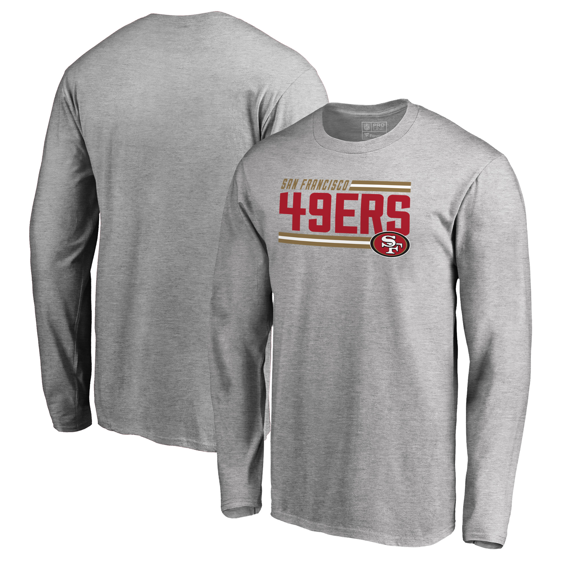San Francisco 49ers NFL Pro Line by Fanatics Branded Iconic Collection On Side Stripe Long Sleeve T-Shirt - Ash