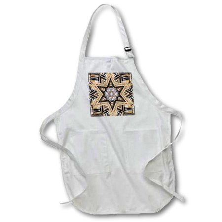 Architectural Star - 3dRose Architectural Star of David - Judaism star of David architecture design - Full Length Apron, 24 by 30-inch, White, With Pockets