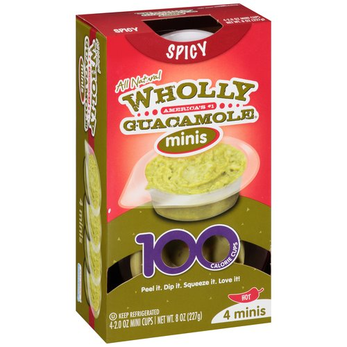 Wholly Guacamole Spicy Hot Minis, 2 oz, 4 pack