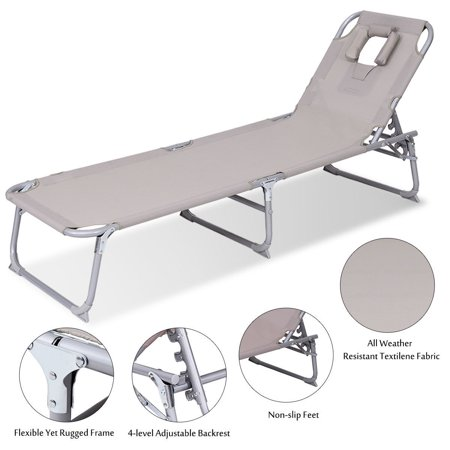 Gymax Adjustable Pool Chaise Lounge Chair Bench Recliner Beach Outdoor Patio Yard - image 4 of 10