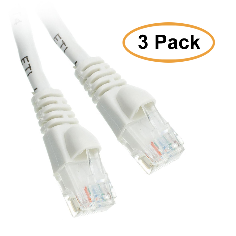 eDragon Cat5e White Ethernet Patch Cable, Snagless/Molded Boot, 10 Feet, 3 Pack