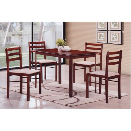Mahogany Center Table - Hodedah Imports Starter 5 Piece Dining Table Set