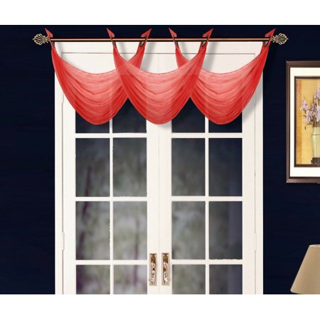 K36 RED 1-PC Solid Voile Sheer WATERFALL Valance Window Treatment With 2 Grommets On Top 55
