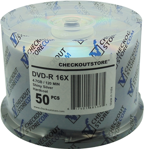 100 CheckOutStore 16X DVD-R 4.7GB ARCHIVAL Hard Coat Shiny Silver