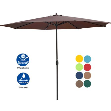 Sundale Outdoor 11 Feet Round Market Patio Umbrella 1.9in Bronze Aluminum Pole with Crank, Sun Protection and Fade Resistant Canopy, No Push Button Tilt, Coffee ()