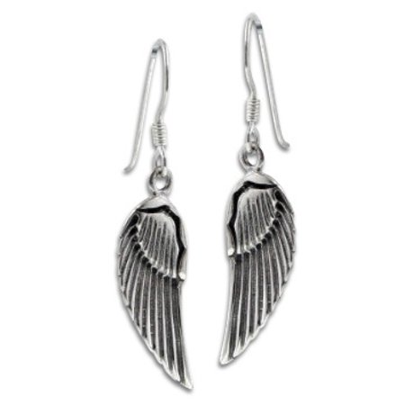 Guardian Angel Wings Feathered Sterling Silver Hook Earrings