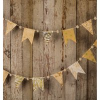 Vintage Pennant Garland Banner (9.5 Feet, Gold Color Story, 16 Small Paper Bunting Flags)