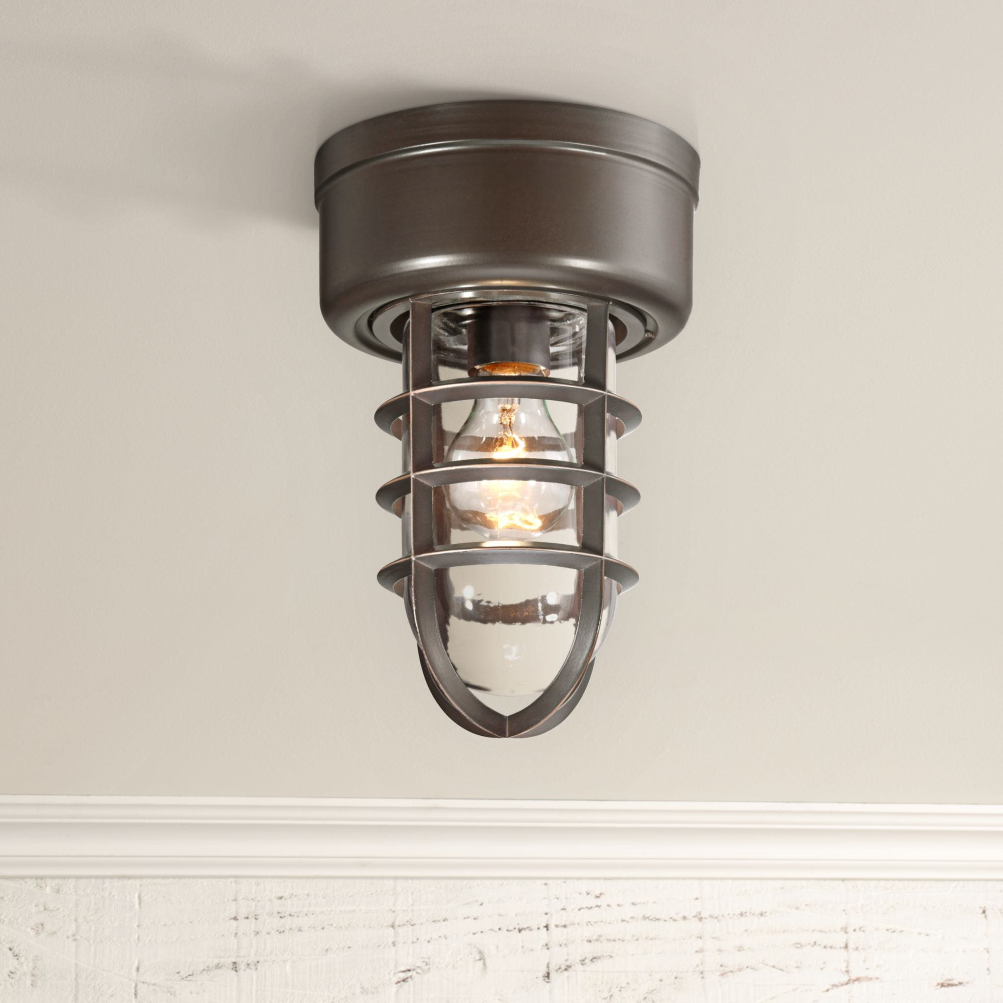 """John Timberland Nautical Outdoor Ceiling Light Fixture Bronze Cage 10 3/4"""" Clear Glass Damp Rated for Porch Patio Entryway"""