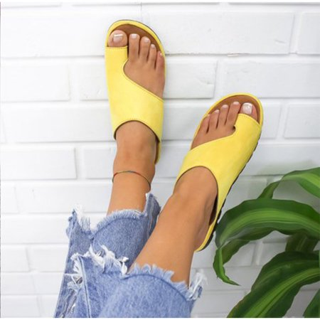 Women Comfy Slippers Wedge Sandals Pu Leather Casual Sandals Shoes Ladies Flip Flops Thong 2019 Summer New Woman Foot Corrector