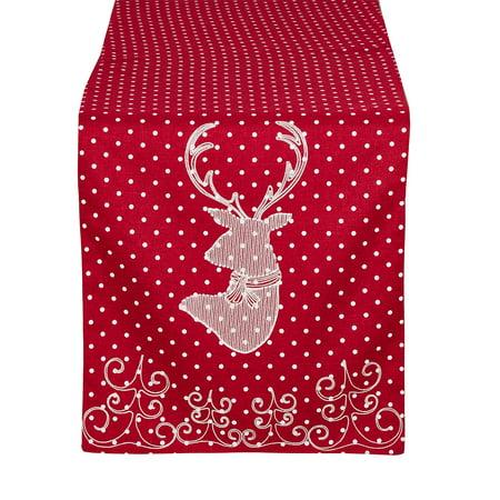 Holiday Reindeer Design Red Table Runner, 16