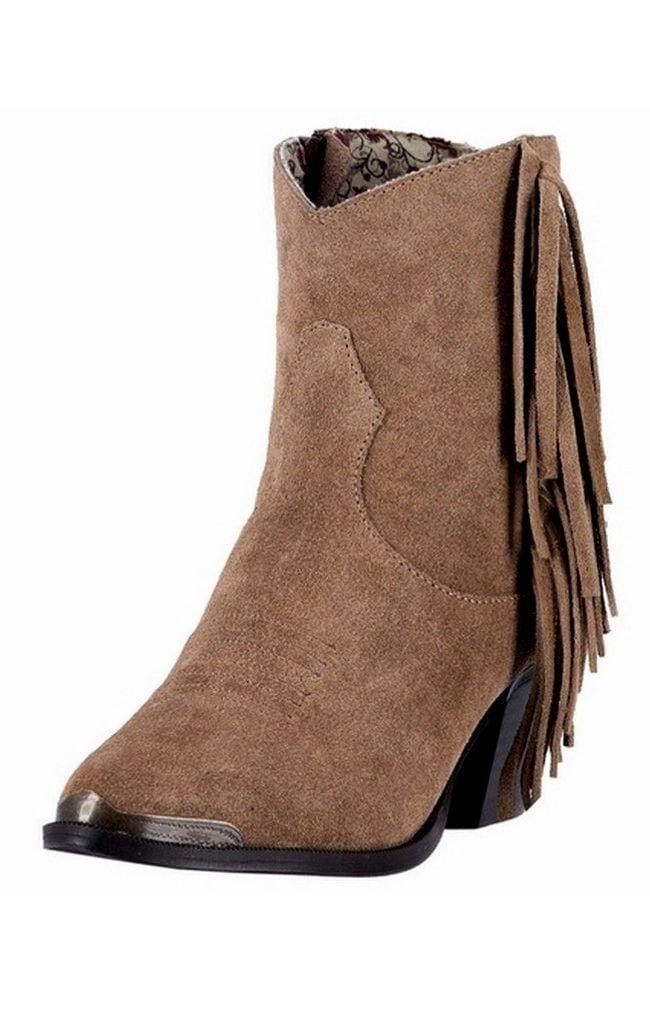 Dingo Western Boots Womens Gigi Fringe Side Zip Toe Cap Brown DI 553 by Dingo