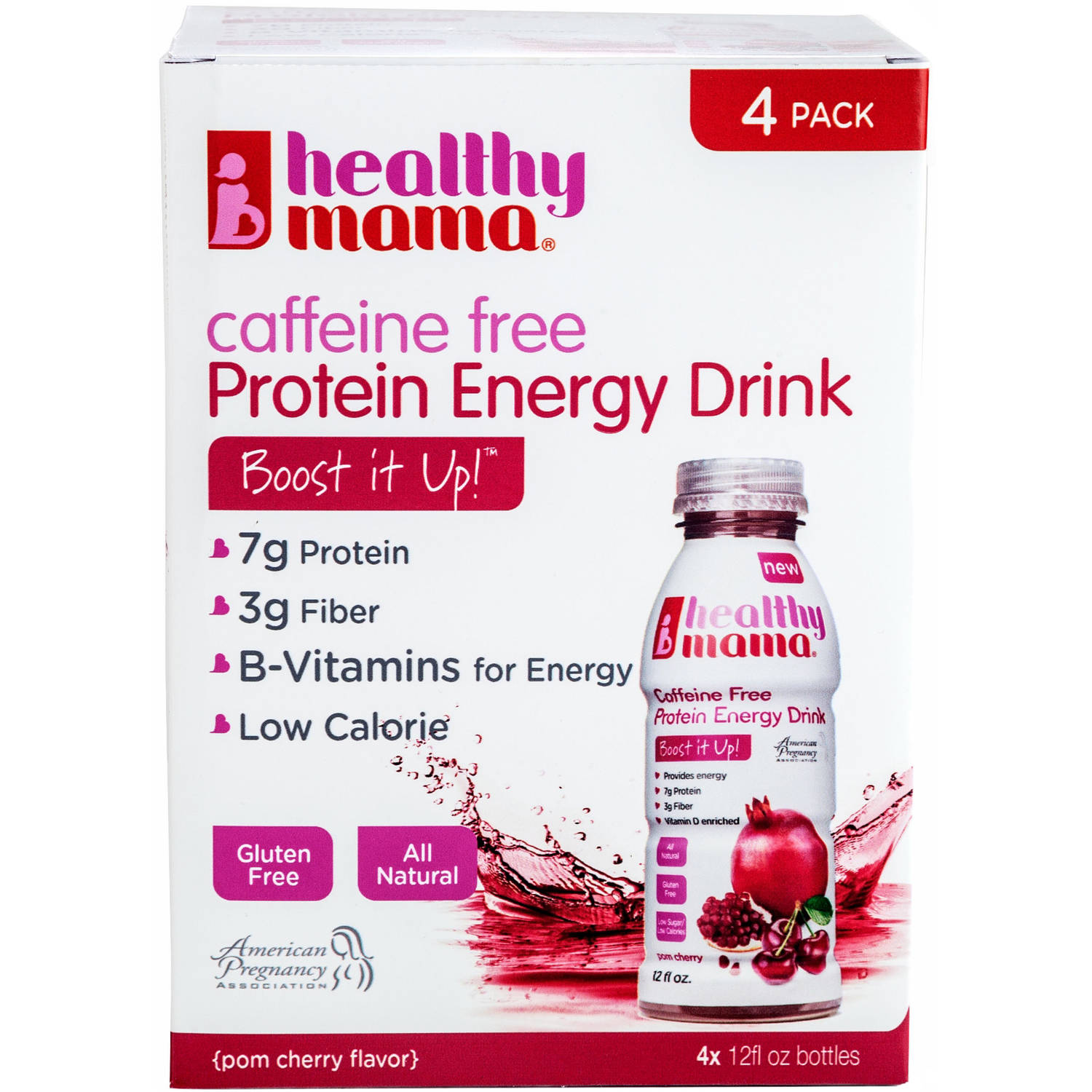 Healthy Mama Boost it Up! Pom Cherry Caffeine Free Protein Energy Drinks, 12 fl oz, 4 count