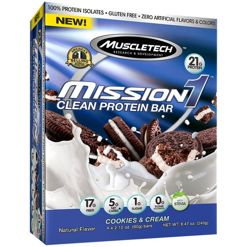 MuscleTech Mission1 Protein Bar, Cookies & Cream, 21g Protein, 4 Ct