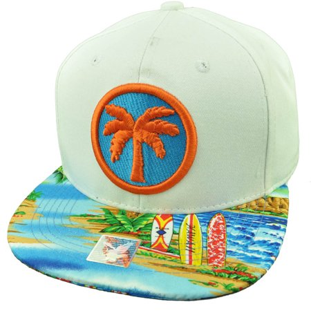Palm Tree Beach Sand Ocean Vacation Tropical Snapback Hat Cap White - Tropical Hat