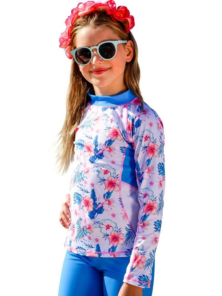 Sun Emporium Little Girls Ocean Blue White Printed Long Sleeve Rash Guard