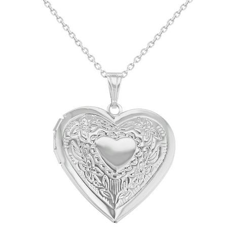 Silver Tone Memory Photo Love Heart Locket Necklace For Women Pendant 19