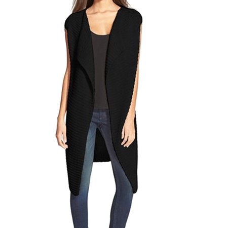 Nordstrom New Black Womens One Size Sleeveless Cardigan Sweater