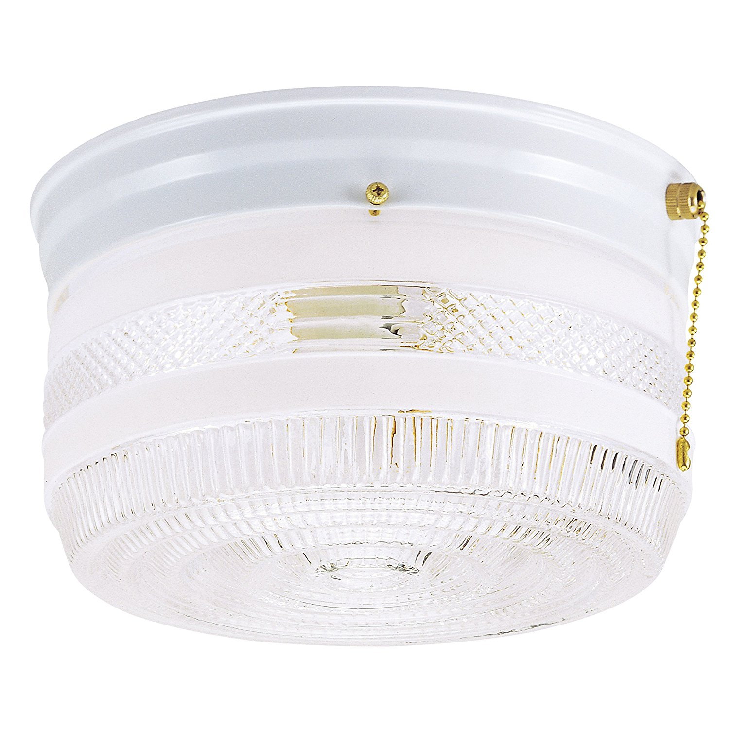 6734500 Two Light Flush Mount Interior Ceiling Fixture With Pull Chain White Finish And Clear Glass Ball 6629700