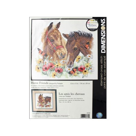 Horse Cross Stitch - Dimensions Cross Stitch Kit 12x11 Horse Friends