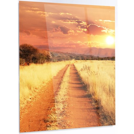 Design Art Straight Path In African Landscape Led Photographic Print On Metal