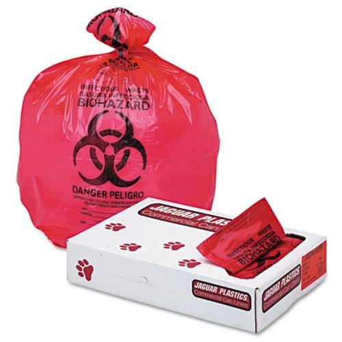 "UNISAN IW3339R Health Care ""bio-hazard"" Printed Liners, 1.3mil, 33 X 39, Red, 150/carton"