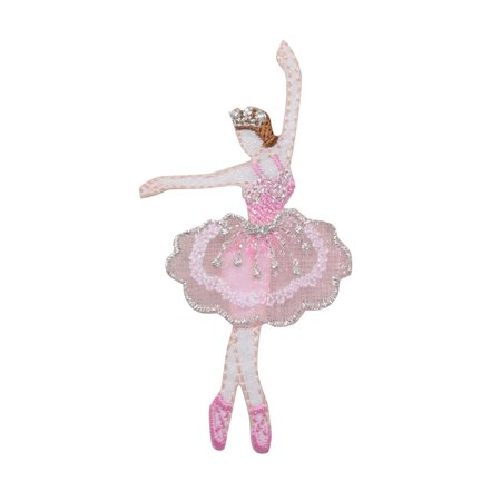Ballerina Ballet Dancer Pink Dress with Crown Iron On Embroidered Applique Patch