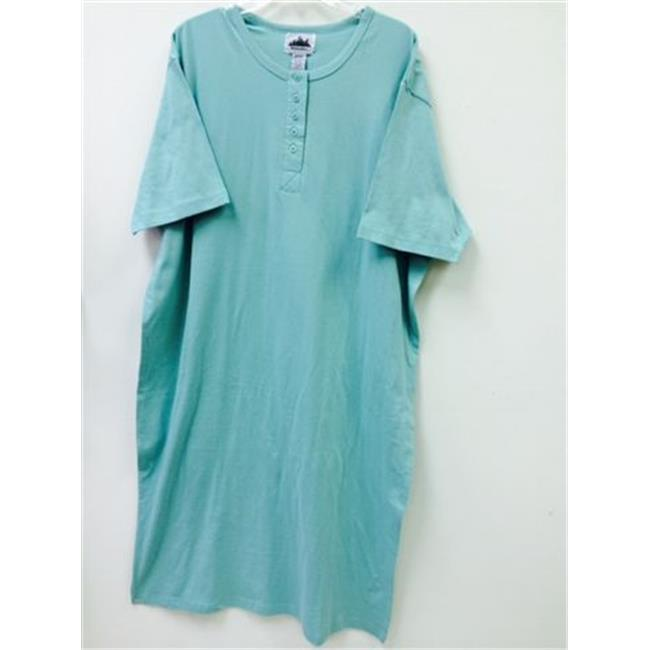 Matropolitan 4269 Henley Night Shirt, Mint - Size 1X-3X