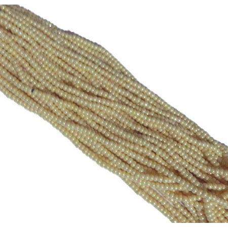 Czech 11/0 Glass Seed, Loose Beads, 1 6 String Hanks Jablonex Opaque Eggshell Luster](Egg On A String)