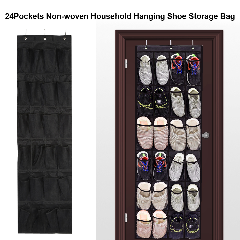 Dilwe 24Pockets Non Woven Household Door Wall Hanging Shoe Storage Bag  Organizer Space Saving Rack