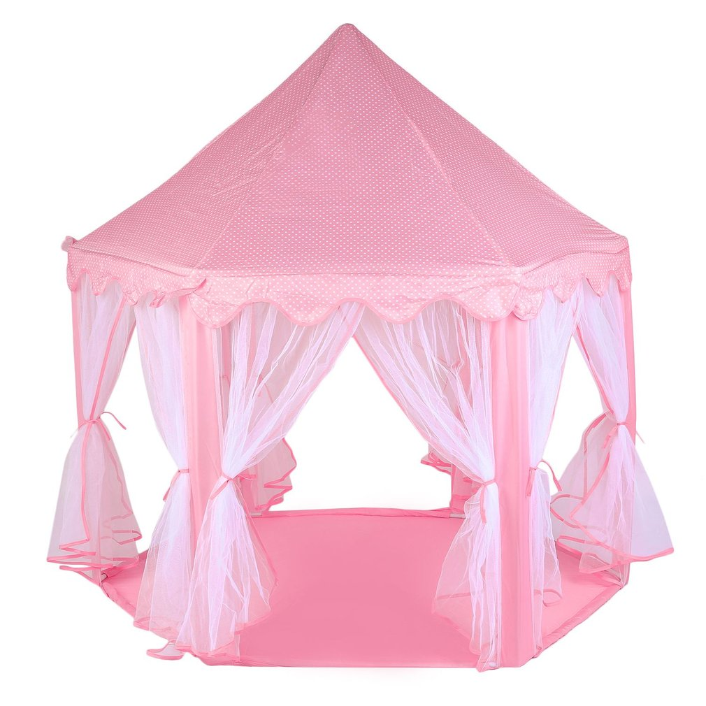 Kids Play Tent, Pink Hexagon Princess Castle Playhouse for Girls Children Play Tent With Star Lights Indoor and Outdoor Fun both Indoor and Outdoor Use