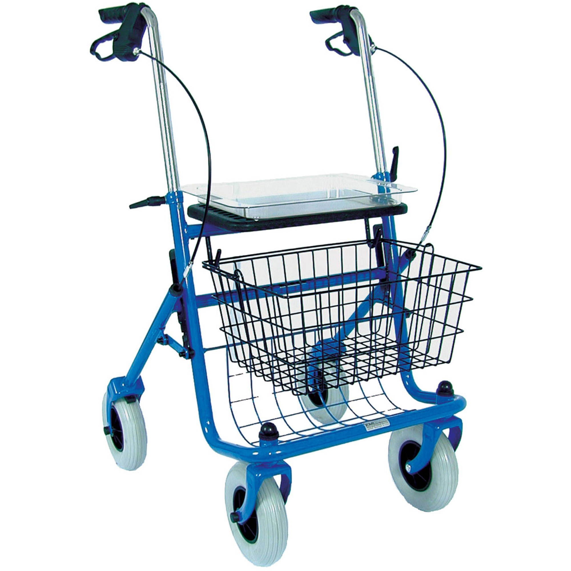 DMI Walkers for Seniors with Padded Seat, Removable Basket and Storage Tray, Classic Steel Rollator Walker Brakes, 4 Wheel Medical Walker for Elderly, Folding Walker for Adults, Blue