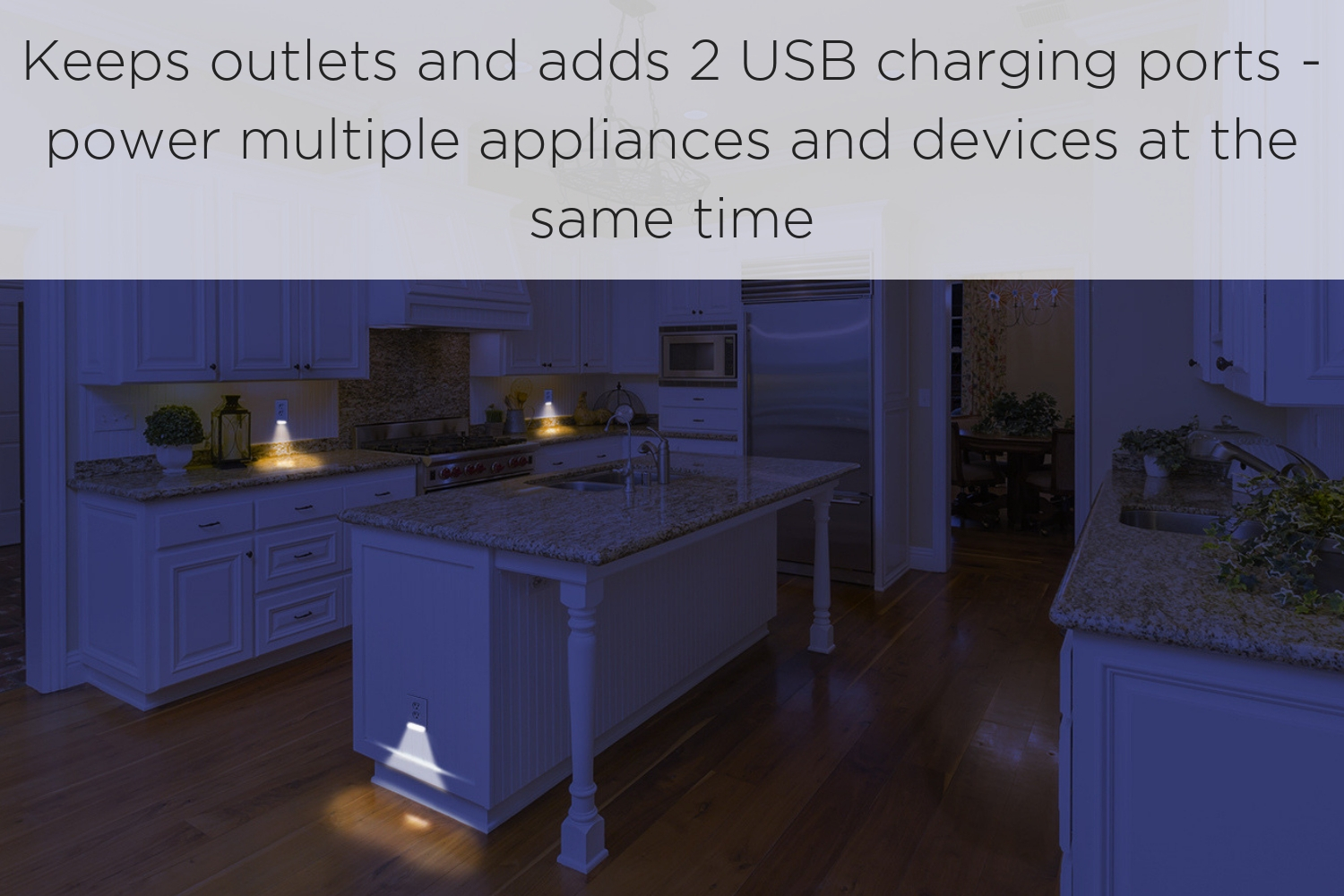 - 1 Pack AMERTAC-WESTEK LC-UCDO-W Wall Plate Guidelight and Access to Outlets Duplex, White LED Night Light Outlet Cover LumiCover Wallplate Nightlight with 2 USB Outlet Charger Ports Easy to Install