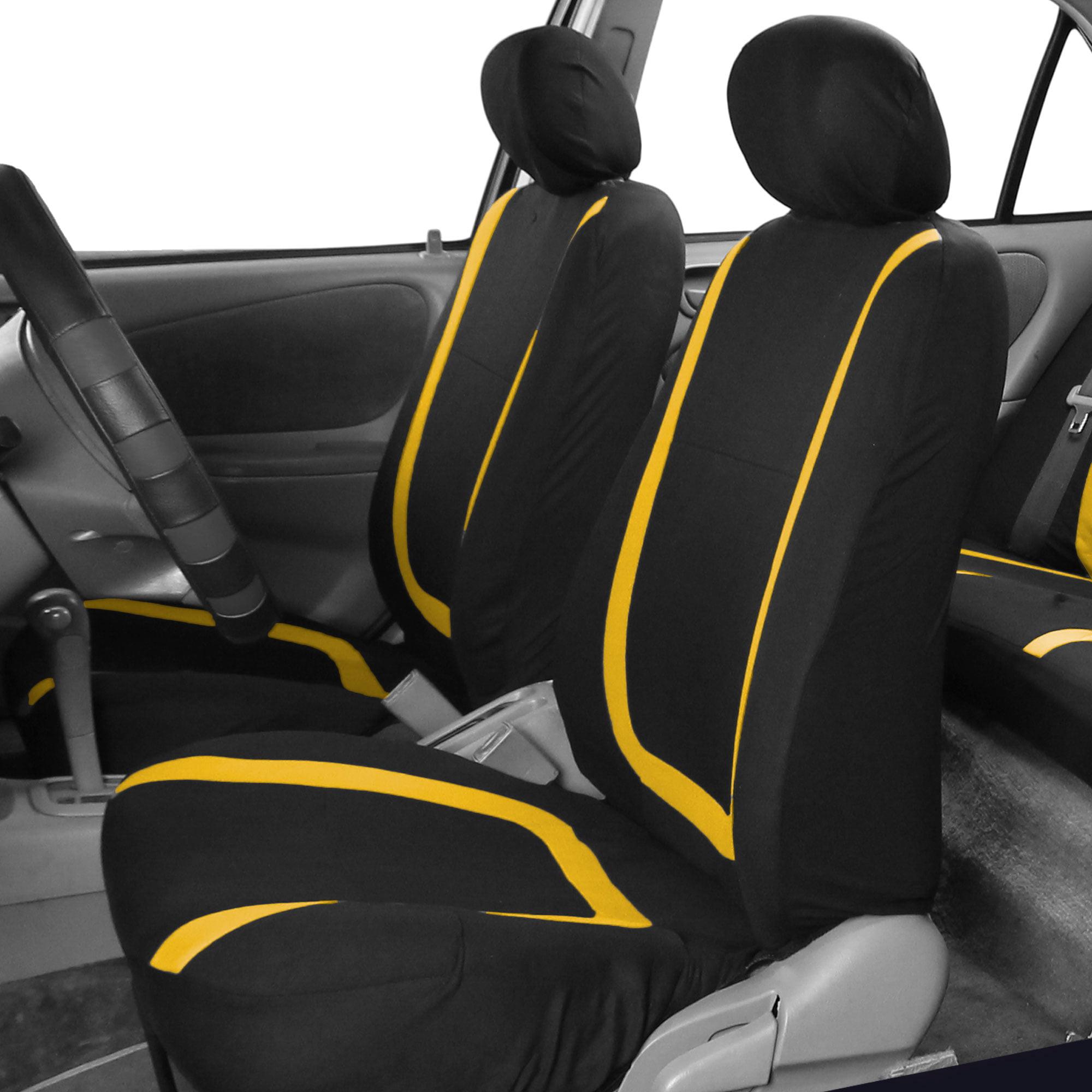 Prime Fh Group Unique Flat Cltoh Front Bucket Car Seat Covers For Sedan Suv Tuck Van Two Front Buckets Black Yellow Walmart Com Lamtechconsult Wood Chair Design Ideas Lamtechconsultcom