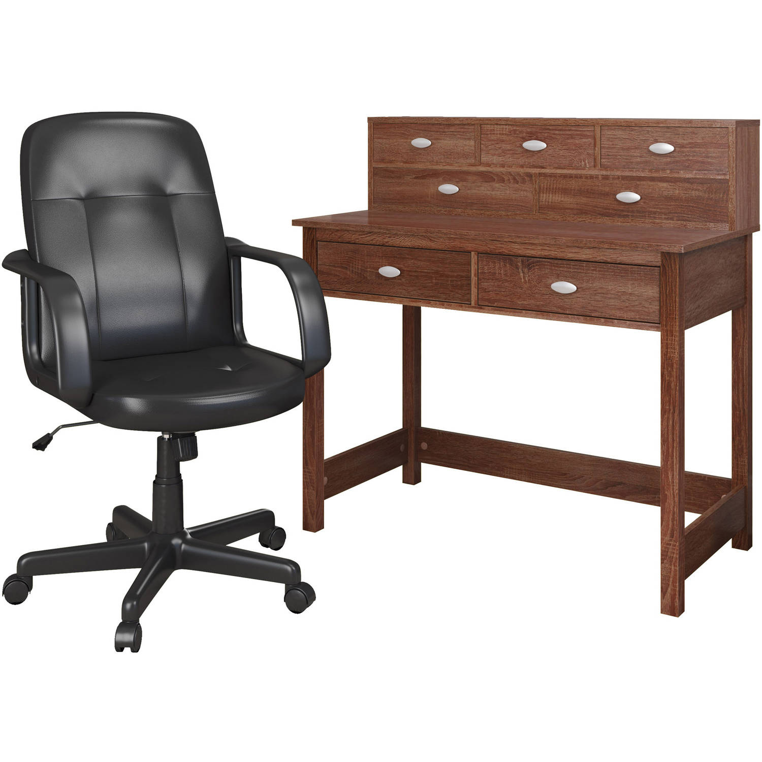 CorLiving Folio 2pc Desk with Storage Hutch and Office Chair Set