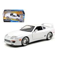 "Brian's Toyota Supra White Fast & Furious"" Movie 1/24 Diecast Car Model by Jada"""