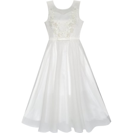 Flower Girls Dress Off White Wedding Veil First Communion 6