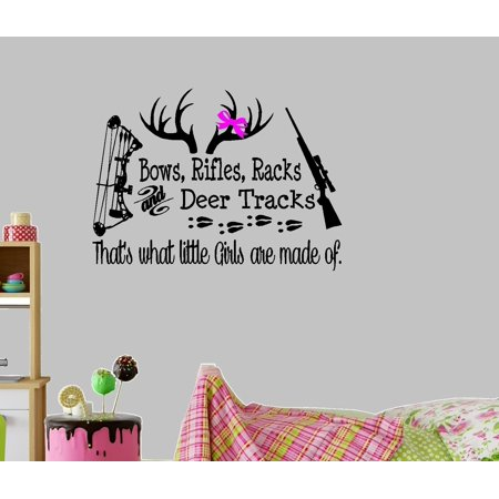 Decal ~ Bows, Rifles, Racks and Deer tracks. That's what little girls are made of  ~ Wall Decal 20