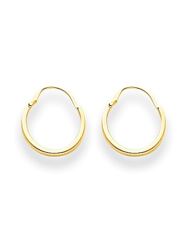 14k White Gold Childs Endless Hoop Earrings w//Gift Box 0.6IN Long