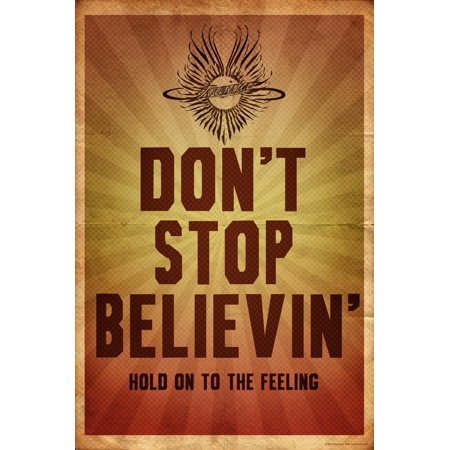 Concert Art (Journey - Don't Stop Believin' Vintage Classic Rock  Music Distressed Concert Poster Print Wall Art )