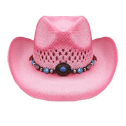 Pink Straw COWBOY HAT w/ Turquoise Blue Beads WOMEN WESTERN Cowgirl