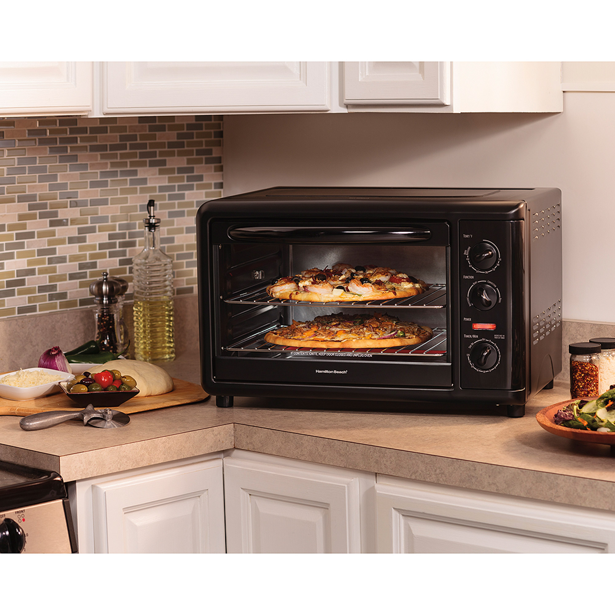 hamilton beach countertop toaster oven with convection model 31121a walmartcom - Countertop Pizza Oven