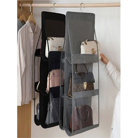 Hanging Handbag Organizer,6 Pockets Shelf Bag Storage Holder Wardrobe&Closets