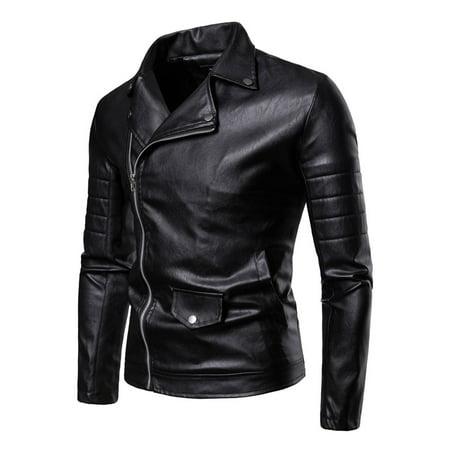 Men Stylish Collar Neck Motorcycle Leather Jacket (Best Stylish Leather Jackets)