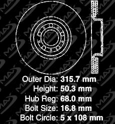 Premium Slotted Drilled Rotors + Ceramic Pads Max Brakes Front Supreme Brake Kit Fits: 2014 14 Volvo XC90 w//12.44 Front Rotor KM141831