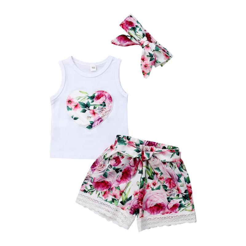 Toddler Baby Girl Summer Outfit Sleeveless Heart Vest Tops Floral Lace Shorts Bow Headband Clothes 3pcs Set