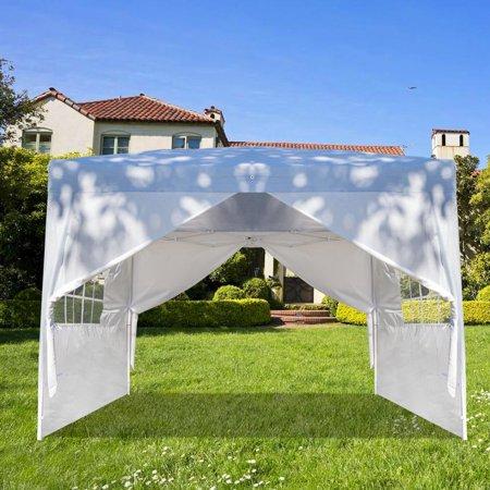 UBesGoo 10 x 10 ft Heavy Duty Ez Pop Up Gazebo Canopy Tent with 4 Removable Sidewalls (White)