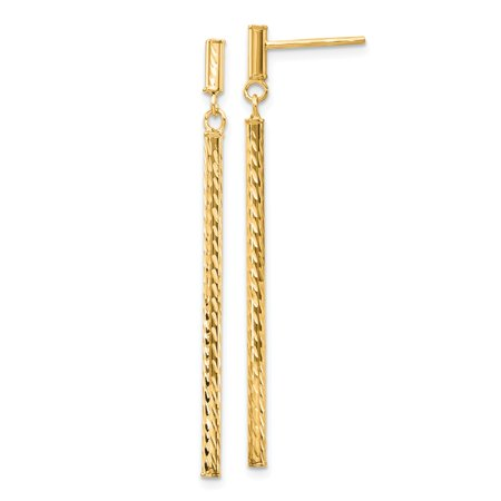 Roy Rose Jewelry 14K Yellow Gold Polished and Diamond-cut Bar Dangle Post - Bar Dangle Post Earrings