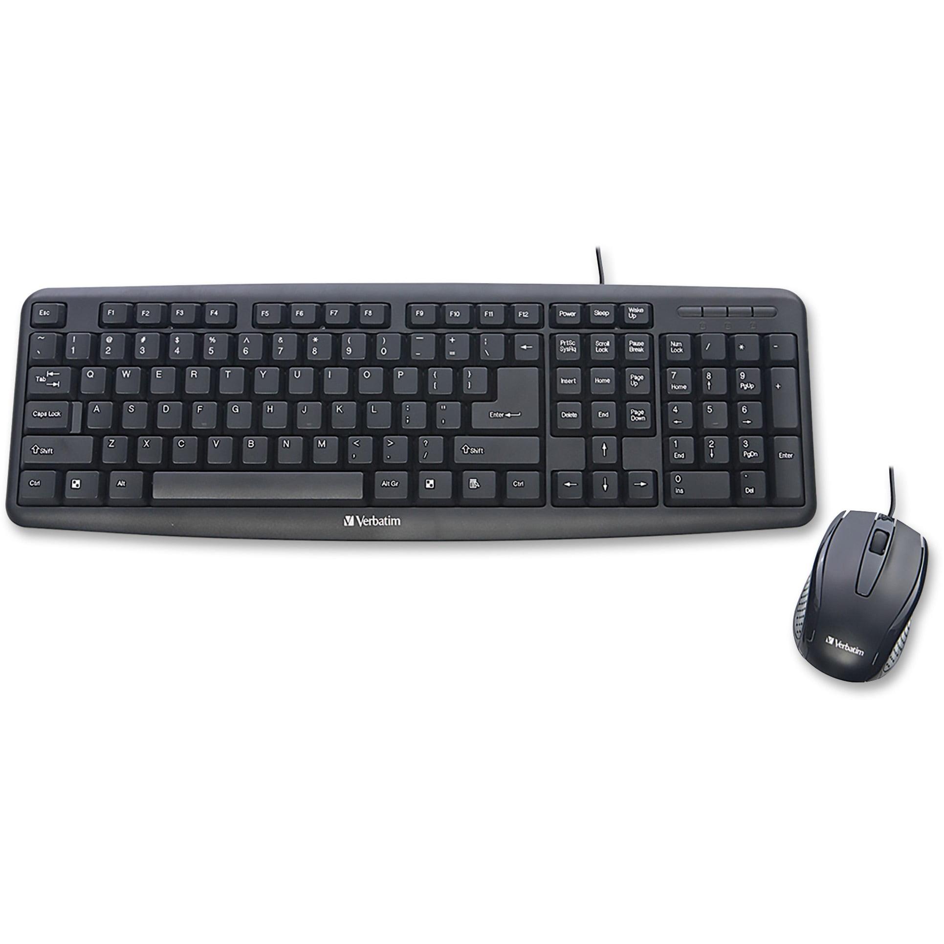 Verbatim, VER99202, Slimline Corded USB Keyboard and Mouse-Black, 1
